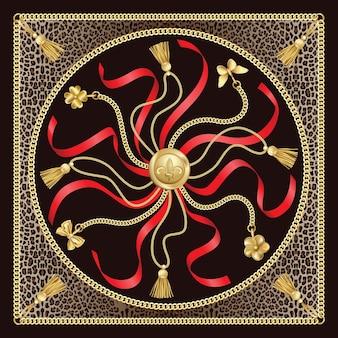 Złote łańcuszki z wisiorkami i wzorem czerwonych wstążek na tle lamparta modny nadruk zwierzęcy