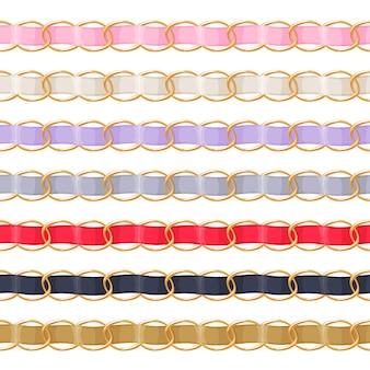 Złote łańcuszki ze szczoteczką do wstążki z kolorowej tkaniny. dobry do naszyjnika, bransoletki, akcesoriów jubilerskich.