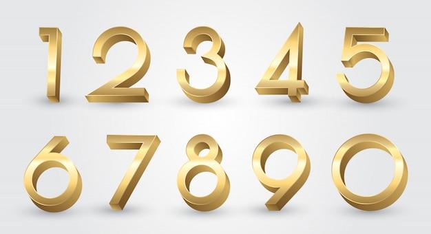 Złote liczby 3d ustawione