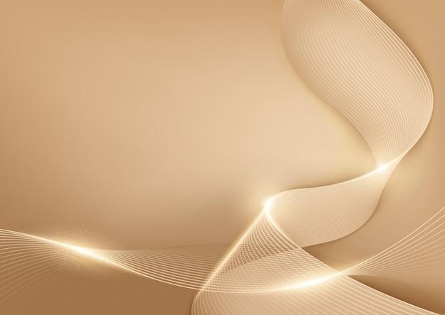 Złote linie pastelowe streszczenie tło