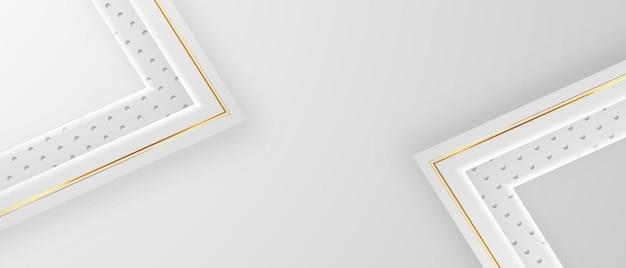 Złote linie zdobią abstrakcyjne szare białe panoramiczne tło