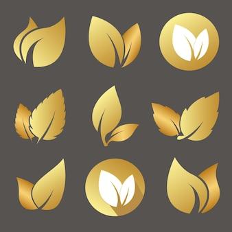 Złote liście logo zestaw dla eko organiczne bio naturalne produkty apteka wektor płaskie ikony