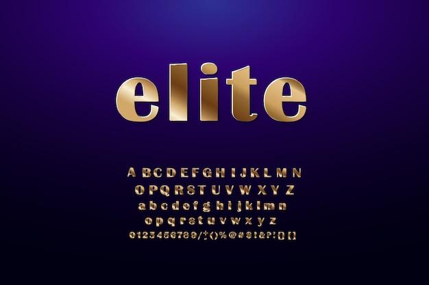 Złote litery alfabetu, symbole, cyfry.