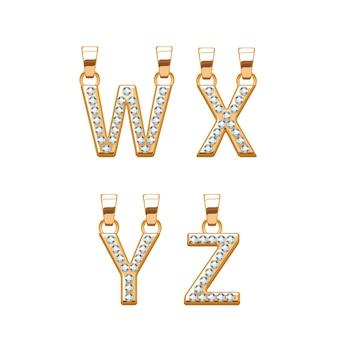 Złote litery z zawieszkami abc z diamentami. ilustracja. dobry na biżuterię.