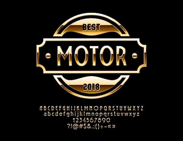 Złote logo dla luksusowego samochodu i sklepu sportowego odblaskowe eleganckie litery, cyfry i symbole