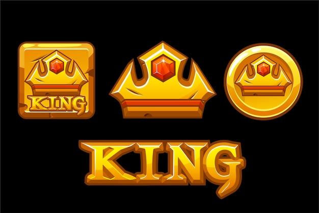 Złote logo króla. korona ikony na złotym kwadracie i monecie.