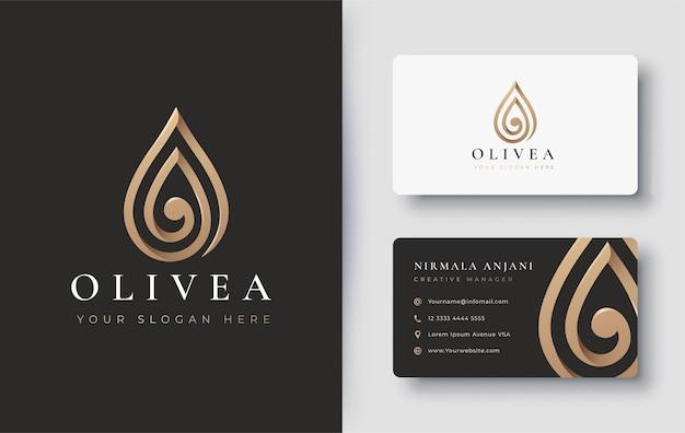 Złote logo kropli wody / oliwy z oliwek i projekt wizytówki