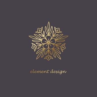 Złote logo kwiatowe i ozdobne