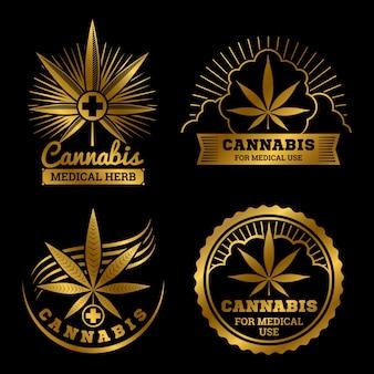 Złote logo medyczne konopi zestaw ilustracji