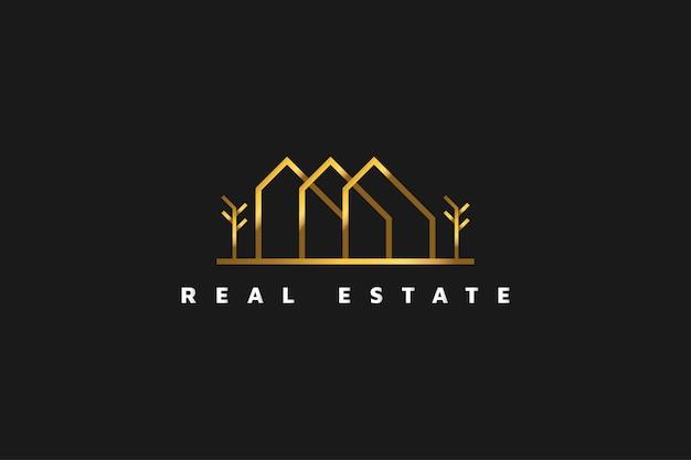 Złote logo nieruchomości w stylu linii. szablon projektu logo budowy, architektury lub budynku