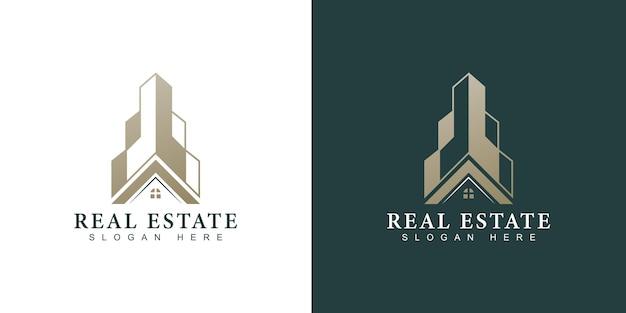 Złote logo nieruchomości z nowoczesną koncepcją kreatywną