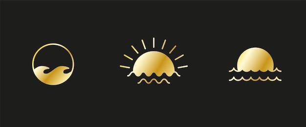 Złote logo o zachodzie lub wschodzie słońca sunburst i fala oceaniczna