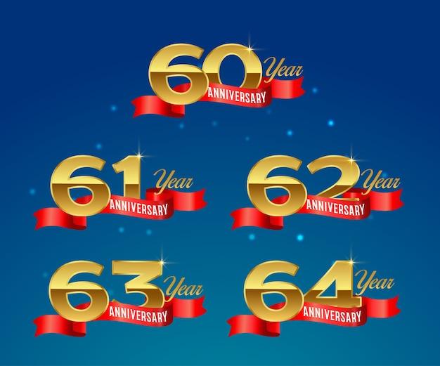 Złote logo obchodów rocznicy ze wstążką