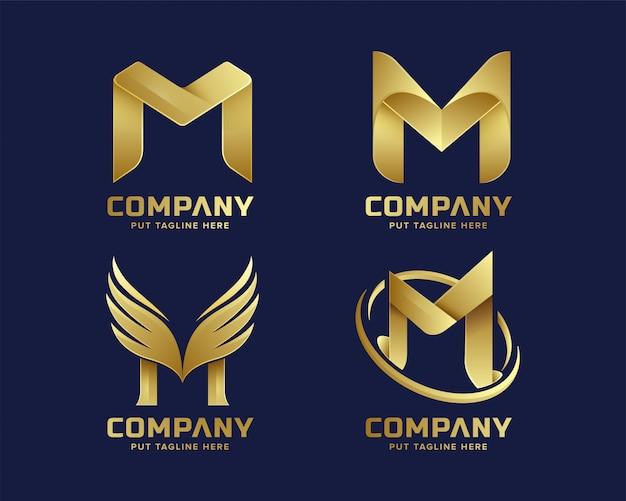 Złote logo premium letter m dla firmy