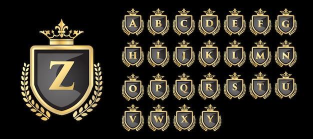 Złote logo vinatge royal i luxury z literą od a do z.