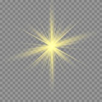 Złote lub białe świecące światło wybuchu przezroczyste.