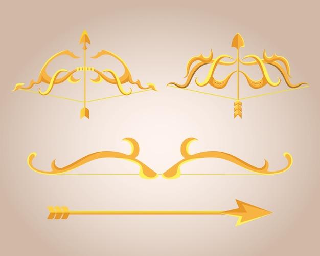Złote łuki ozdobne ze strzałkami przedstawiającymi amorek łuczniczy z bronią i motywem vintage