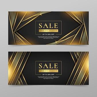 Złote luksusowe banery sprzedaży ze zniżką