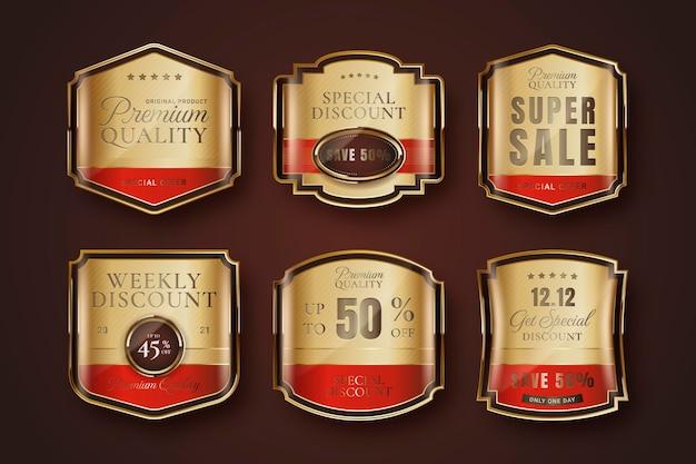 Złote luksusowe etykiety sprzedaży
