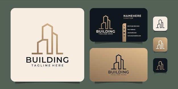 Złote luksusowe logo z wizytówką