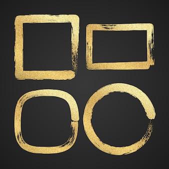 Złote luksusowe malowane ramki graniczne grunge.