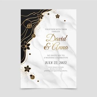Złote luksusowe zaproszenie na ślub golden