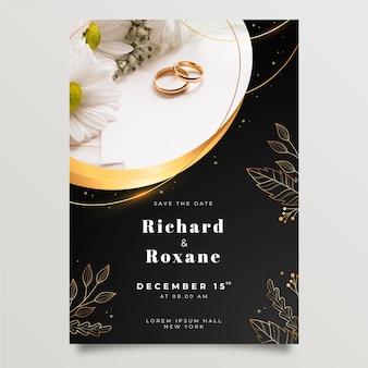 Złote luksusowe zaproszenie na ślub ze zdjęciem