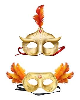 Złote maski colombina 3d realistyczny zestaw