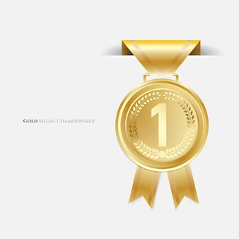 Złote medale championa ze wstążką.