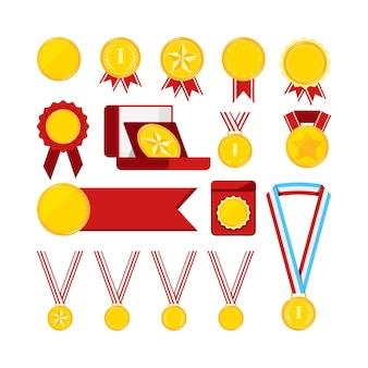 Złote medale z czerwoną wstążką zestaw na białym tle. ikona nagrody złoty medalion znak pierwsze miejsce z gwiazdą, kropkami, gałęziami laurowymi. płaska konstrukcja wektor ilustracja kreskówka styl clipart.