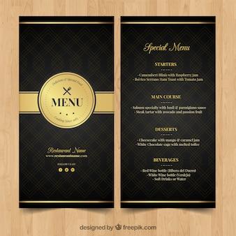Złote menu dla eleganckiej restauracji