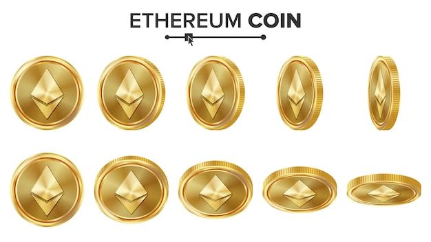 Złote monety 3d ethereum