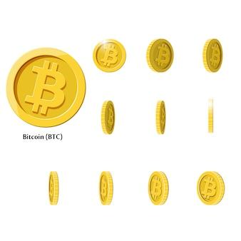 Złote monety bitcoin rotate