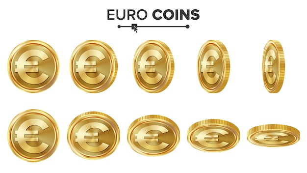 Złote monety euro 3d