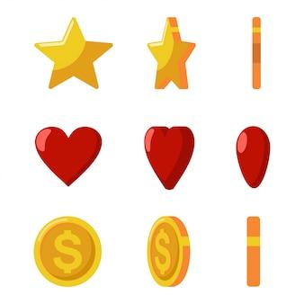 Złote monety, gwiazdki i czerwone serduszka. zestaw ikon gry i sieci na białym tle na białym tle.