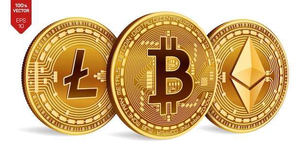 Złote monety kryptowaluty z bitcoin, litecoin i ethereum symbol na białym tle.