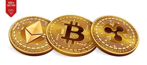 Złote monety kryptowaluty z bitcoin, marszczyć i ethereum symbol na białym tle.