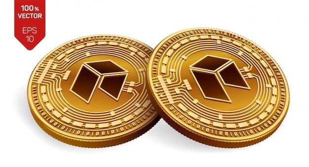 Złote monety kryptowaluty z neo symbol na białym tle.