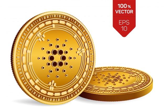 Złote monety kryptowaluty z symbolem cardano na białym tle.