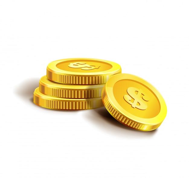 Złote monety na białym tle.