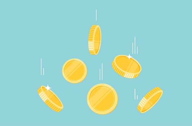 Złote monety pieniądze spadające na ilustracji ziemi, latający płaski. wektor kreskówka projekt.