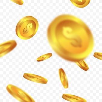 Złote monety spadające z przezroczystego tła