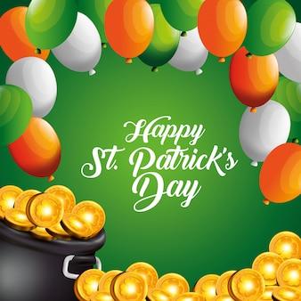Złote monety w kociołku z balonami na dzień świętego patryka