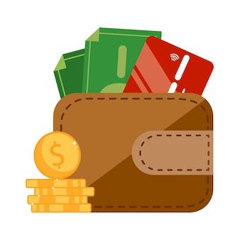 Złote monety w pobliżu brązowego portfela z zieloną kartą kredytową i złotymi monetami