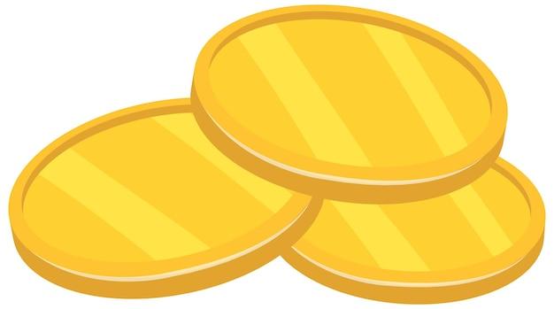 Złote monety w stylu kreskówki na białym tle