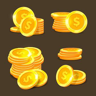 Złote monety wektorowe ikony, stosy złote monety i stosy