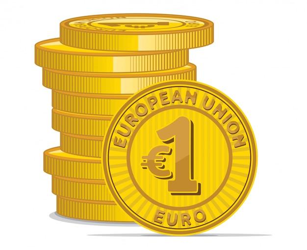 Złote monety z symbolem euro