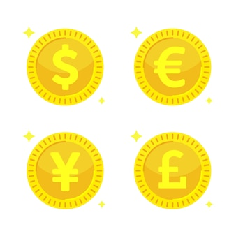 Złote monety. żółte pieniądze - dolar, euro, jen i funt szterling.
