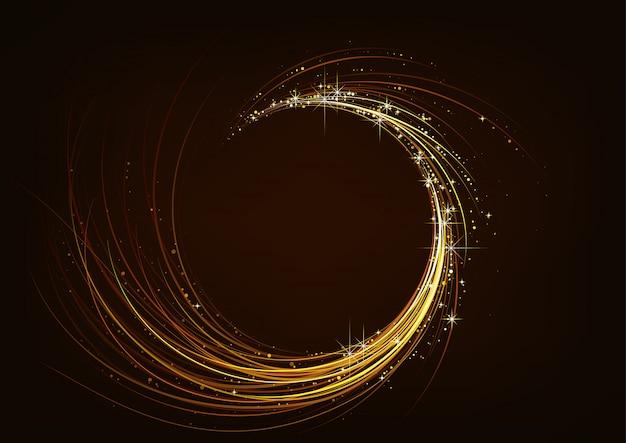 Złote musujące spiralne ciemne tło