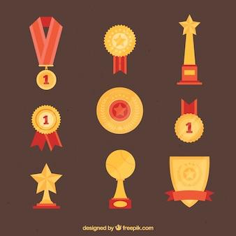 Złote nagrody z czerwonym szczegóły